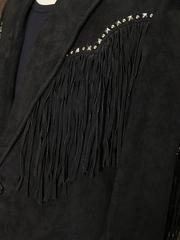 フリンジ スウェードジャケット(Black)-写真2