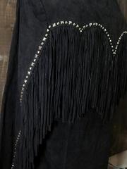 フリンジ スウェードジャケット(Black)-写真4